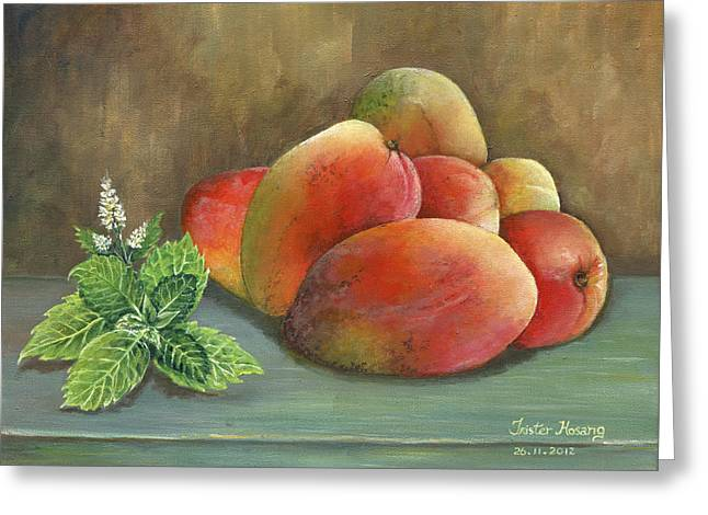 Trister Hosang Greeting Cards - Mango and Mint Greeting Card by Trister Hosang