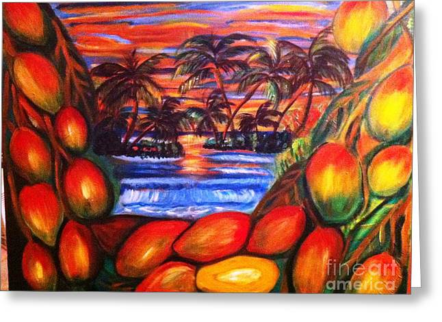 Jamaican Sunsets Greeting Cards - Mango By Sunset Greeting Card by Janet Lilethia  Harvey