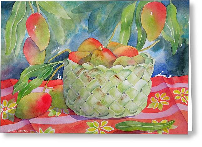 Mango Paintings Greeting Cards - Mango Harvest Greeting Card by Kathleen Rutten