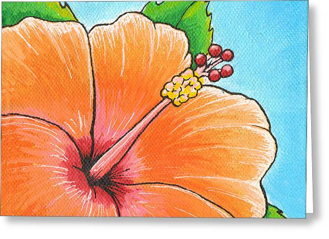Mango Greeting Cards - Mango Madness Hibiscus Greeting Card by Adam Johnson