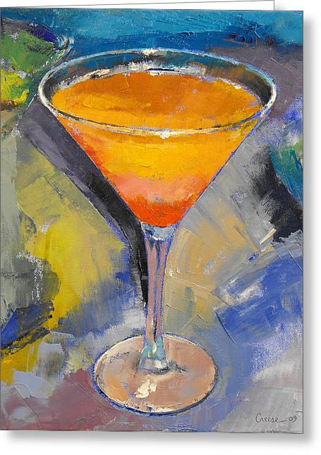 Mango Paintings Greeting Cards - Mango Martini Greeting Card by Michael Creese
