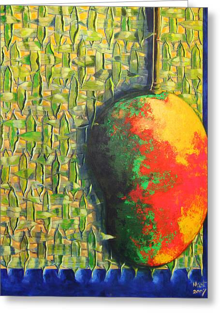 Mango Paintings Greeting Cards - Mango Greeting Card by Mayra  Martinez