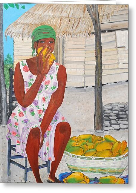 Mango Paintings Greeting Cards - Mango Merchant Woman Greeting Card by Nicole Jean-Louis