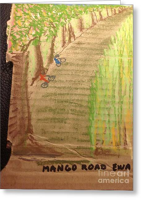 Plantations Drawings Greeting Cards - Mango Road Ewa Plantation Greeting Card by Willard Hashimoto