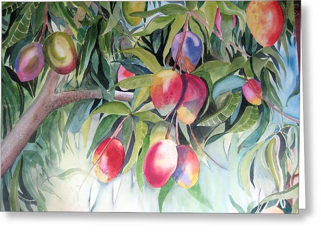 Mango Greeting Cards - Mango Tree Greeting Card by Stephanie Zobrist