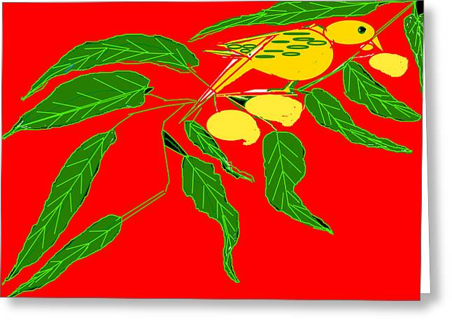 Mango Greeting Cards - Mangoes And Parrot Greeting Card by Anand Swaroop Manchiraju