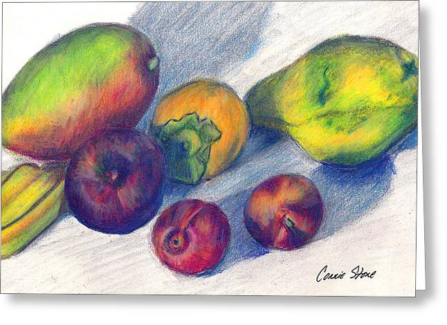 Mango And Plums Greeting Card by Connie Thomas
