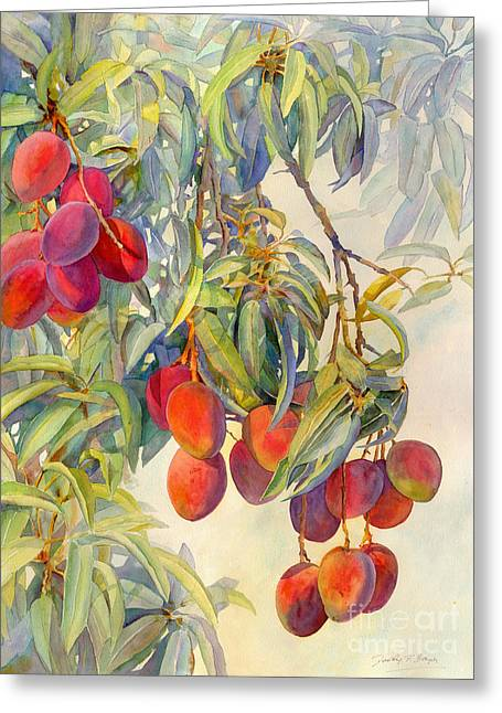 Mango Paintings Greeting Cards - Mangoes in the Evening Light Greeting Card by Dorothy Boyer