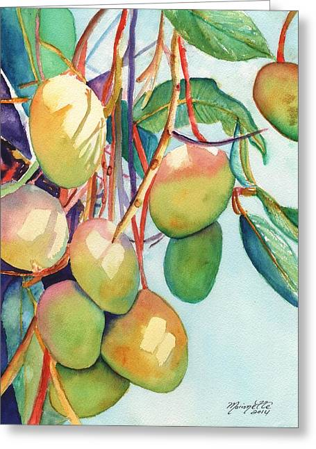 Mango Paintings Greeting Cards - Mangoes Greeting Card by Marionette Taboniar