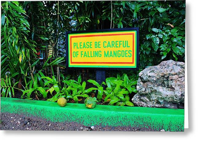 Mango Greeting Cards - Mangoes Warning Greeting Card by Iryna Burkova
