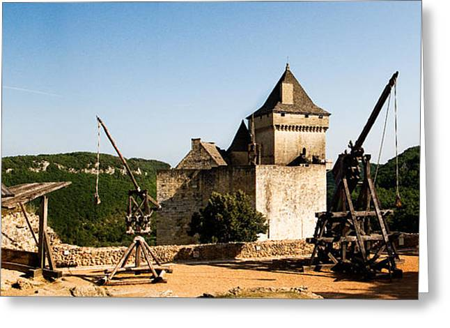 Chateau Greeting Cards - Mangonels and trebuchets at the Chateau de Castelnaud Greeting Card by Weston Westmoreland