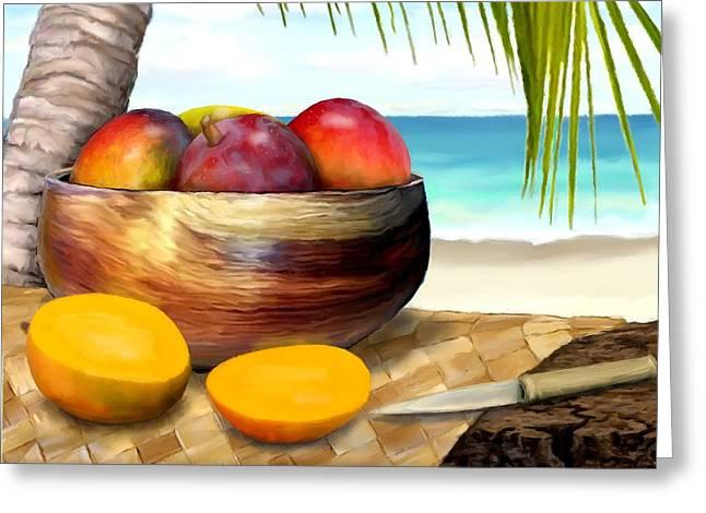 Mango Greeting Cards - Mangos in Koa Bowl  Greeting Card by Stephen Jorgensen