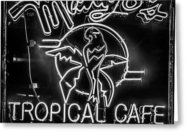 Mango's South Beach Miami - Black And White - Square Greeting Card by Ian Monk