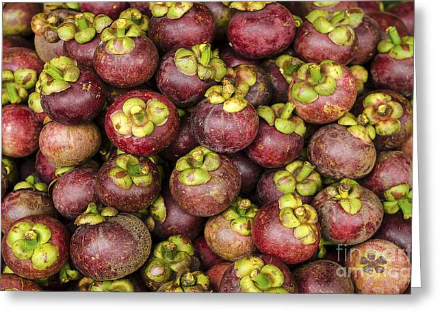 Mangosteen Greeting Cards - Mangosteen Tropical Exotic Fruit In Market Greeting Card by Jacek Malipan