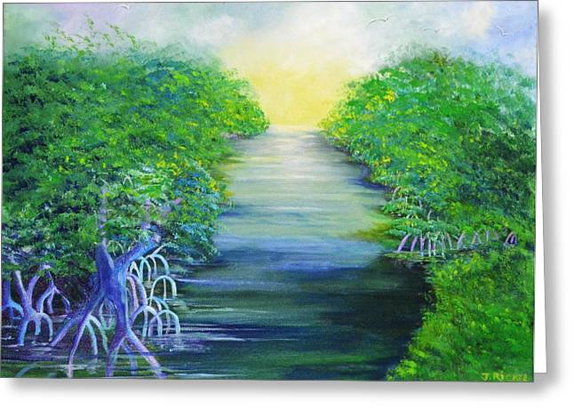 Mangrove Forest Paintings Greeting Cards - Mangrove Retreat Greeting Card by Jane  Ricker