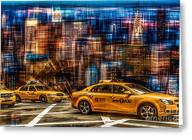 Hannes Cmarits Greeting Cards - Manhattan - Yellow Cabs I Greeting Card by Hannes Cmarits