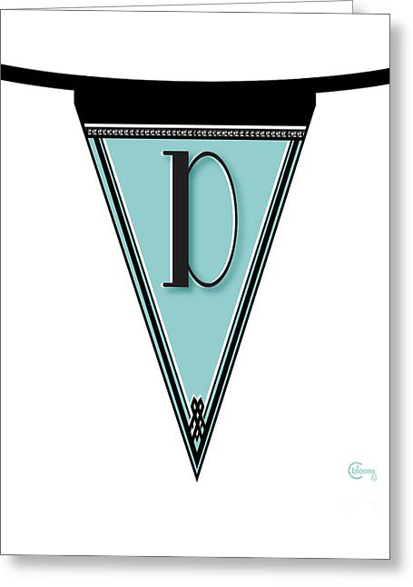Rally Greeting Cards - Manhattan 1920s Deco Blues Banner Monogram letter initial d Greeting Card by Cecely Bloom