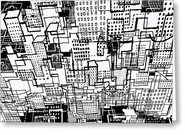 Manhattan Drawings Greeting Cards - Manhattan 2 Greeting Card by Andy  Mercer