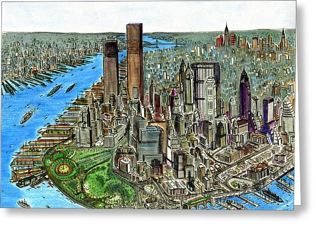 Urban Images Drawings Greeting Cards - Downtown Manhattan 72 - New York City Painting Greeting Card by Peter Fine Art Gallery  - Paintings Photos Digital Art
