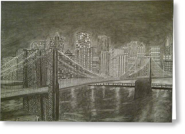 Famous Bridge Drawings Greeting Cards - Manhattan At Night Greeting Card by Irving Starr