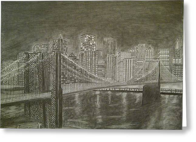 Manhattan At Night Greeting Card by Irving Starr