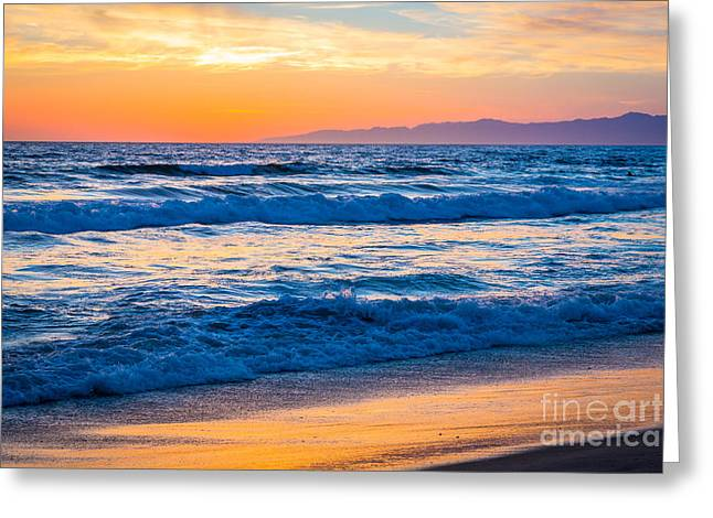 York Beach Greeting Cards - Manhattan Beach Sunset Greeting Card by Inge Johnsson