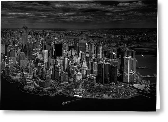 Manhattan - Bird's Eye View Greeting Card by Michael Jurek
