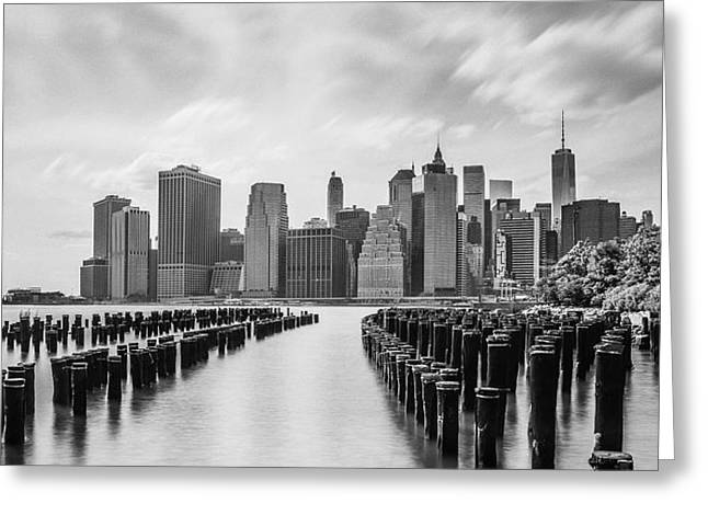 Usa Pyrography Greeting Cards - Manhattan black and white Greeting Card by Eduard Kraft
