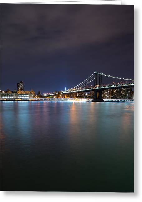 Nightscapes Greeting Cards - Manhattan Bridge - New York - USA Greeting Card by Larry Marshall