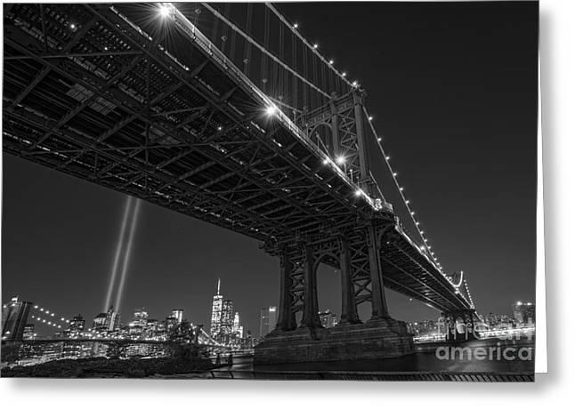 Manhatan Greeting Cards - Manhattan Bridge 911 BnW Greeting Card by Michael Ver Sprill