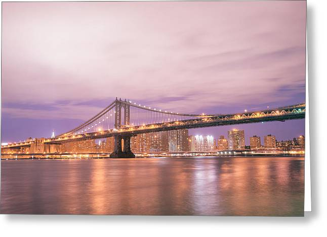 Sony Greeting Cards - Manhattan Bridge and New York City Skyline at Night Greeting Card by Vivienne Gucwa