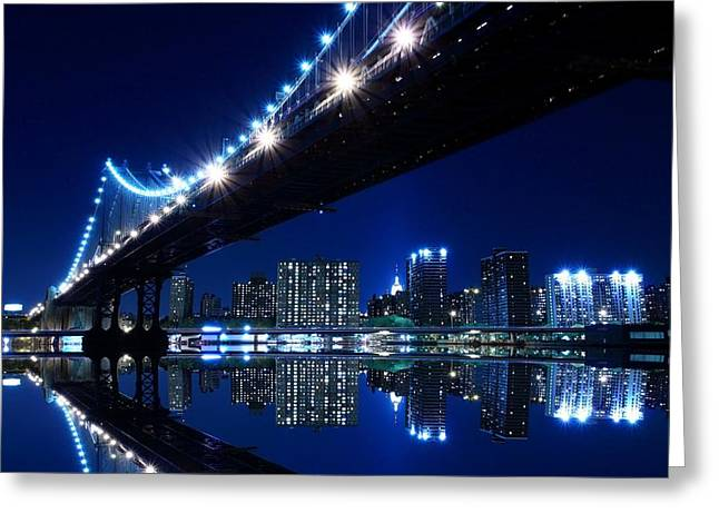 Manhattan Greeting Cards - Manhattan Bridge at Night Greeting Card by Gianfranco Weiss