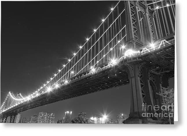 Twilight Pyrography Greeting Cards - Manhattan Bridge at twilight Greeting Card by AHcreatrix