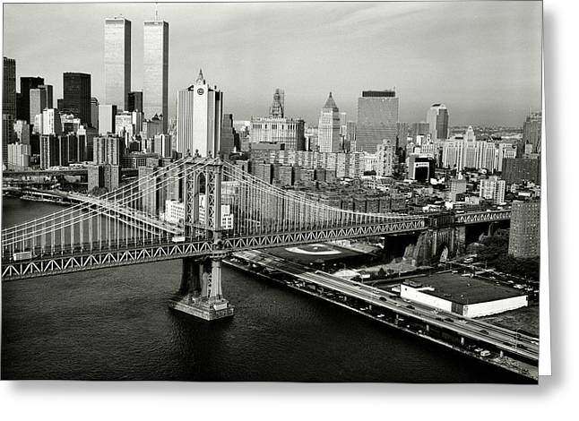 Wtc 11 Photographs Greeting Cards - Manhattan Bridge Greeting Card by Benjamin Yeager
