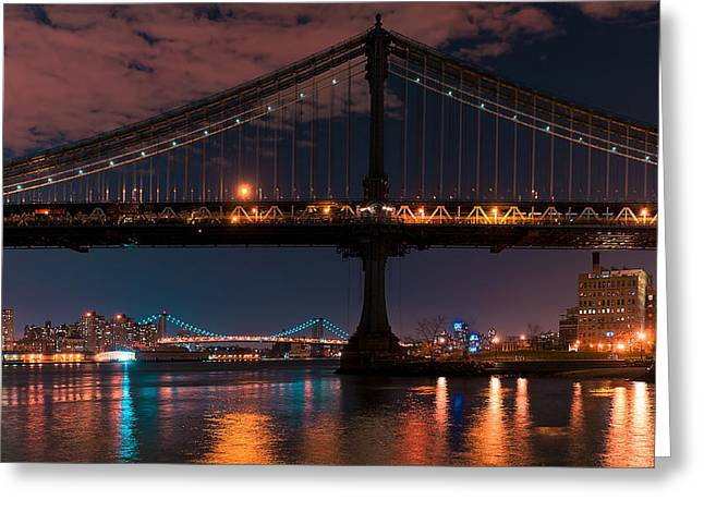 D700 Greeting Cards - Manhattan Bridge Framing Williamsburg Bridge Greeting Card by Mitchell R Grosky