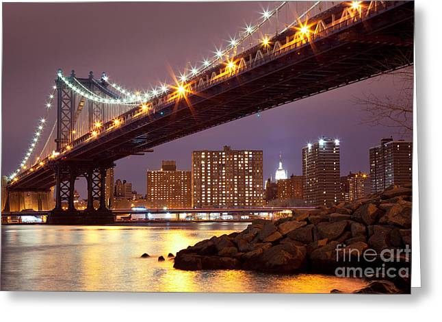Evening Lights Greeting Cards - Manhattan Bridge Greeting Card by Inge Johnsson