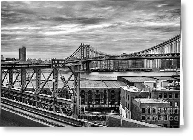 Old City Prints Greeting Cards - Manhattan Bridge Greeting Card by John Farnan