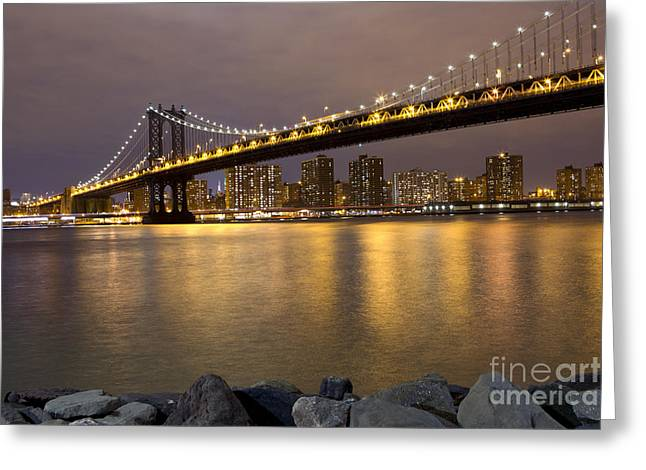 Leslie Leda Greeting Cards - Manhattan Bridge Lights  Greeting Card by Leslie Leda