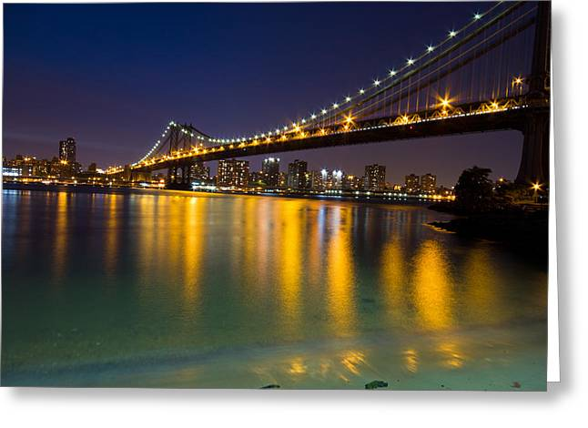 Cityscape Glass Greeting Cards - Manhattan Bridge Greeting Card by Mircea Costina Photography