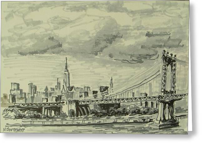 Roadway Drawings Greeting Cards - Manhattan Bridge Greeting Card by Nicolas Bouteneff