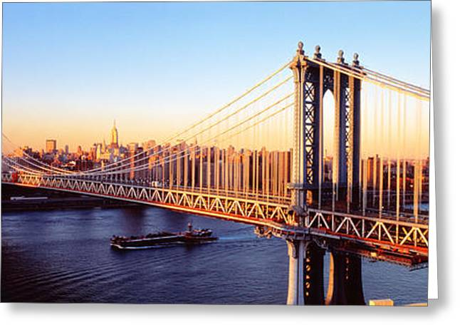 Steel City Greeting Cards - Manhattan Bridge, Nyc, New York City Greeting Card by Panoramic Images