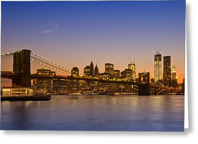 Famous Bridge Greeting Cards - MANHATTAN Brooklyn Bridge Greeting Card by Melanie Viola
