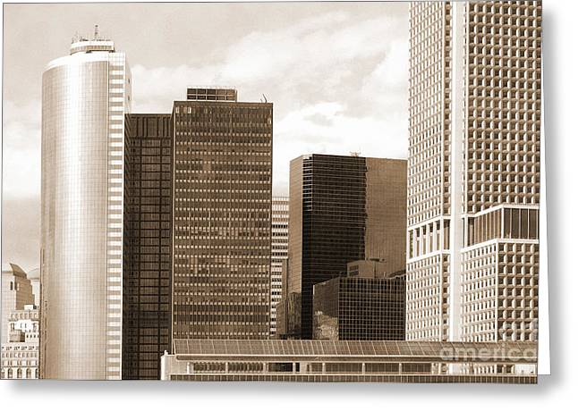 City Skylines Greeting Cards Greeting Cards - Manhattan buildings vintage look Greeting Card by RicardMN Photography