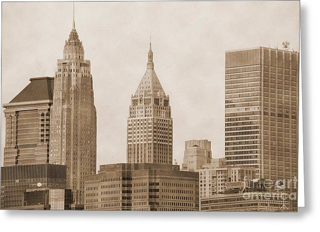 Aged Print Greeting Cards - Manhattan buildings vintage Greeting Card by RicardMN Photography