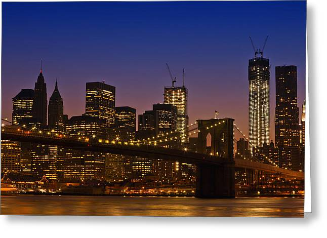 Famous Bridge Greeting Cards - Manhattan by Night Greeting Card by Melanie Viola