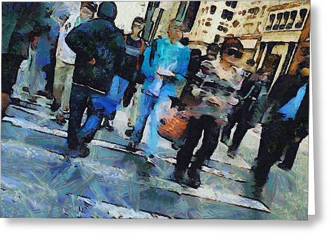 Crowd Mixed Media Greeting Cards - Manhattan Crosswalk Greeting Card by Dan Sproul