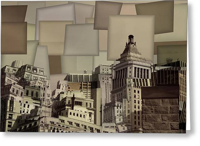 City Buildings Mixed Media Greeting Cards - Manhattan Cubism Greeting Card by Dan Sproul
