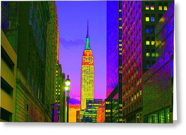 Urban Buildings Pastels Greeting Cards - Manhattan Evening Greeting Card by Dan Hilsenrath