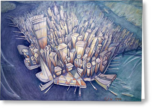 Manhattan From Above, 1994 Oil On Canvas Greeting Card by Charlotte Johnson Wahl