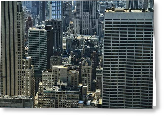 Looking Down In The Big Apple Greeting Cards - Manhattan From Above Greeting Card by Dan Sproul
